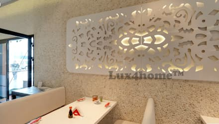 White pebble tiles walls restaurant - pebble tile mosaic manufacturer:  Walls by Lux4home™ Indonesia