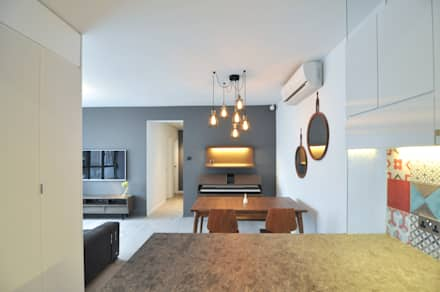 Dining Area with Open Kitchen: mediterranean Dining room by Mister Glory Ltd