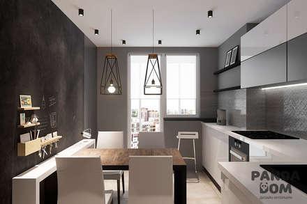 Современный дом в серо-черной гамме.: Кухни в . Автор – дизайн-студия PandaDom