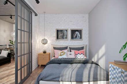 Квартира 50 кв.м. в стиле эклектика в ЖК ART: Спальни в . Автор – Студия архитектуры и дизайна Дарьи Ельниковой
