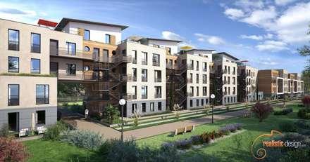 Perspectiva 3D de un edificio de viviendas para arquitectos : Casas multifamiliares de estilo  de Realistic-design