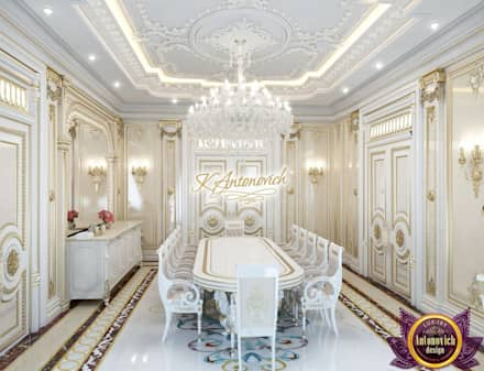 ​Interior design projects in Dubai from Katrina Antonovich: classic Dining room by Luxury Antonovich Design