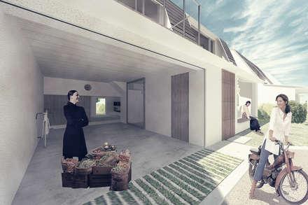 Garajes y galpones de estilo escandinavo por 富永大毅建築都市計画事務所