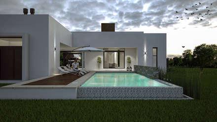 Casa D+T - RESIDENCIA PERMANENTE: Piletas de estilo moderno por D'ODORICO OFICINA DE ARQUITECTURA