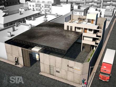 Depósitos Sulca - Vista Aérea: Espacios comerciales de estilo  por Soluciones Técnicas y de Arquitectura