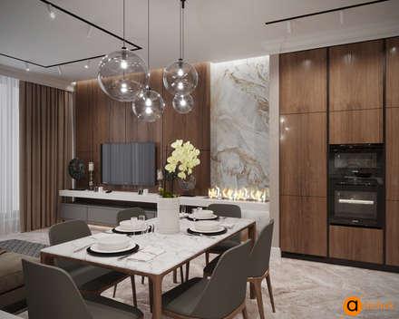 Дизайн столовой в коричневом цвете: Столовые комнаты в . Автор – Art-i-Chok