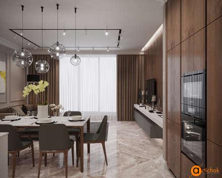 Совмещенная столовая-гостиная: Столовые комнаты в . Автор – Art-i-Chok