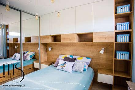 Zdjęcia z realizacji mieszkania w stylu skandynawskim: styl , w kategorii Sypialnia zaprojektowany przez subdadesign