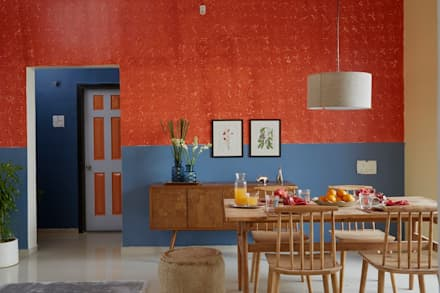 : rustic Dining room by Papersky Studio