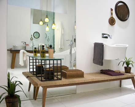 : tropical Bathroom by Papersky Studio