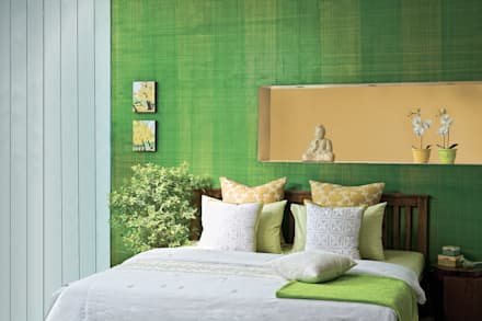 : tropical Bedroom by Papersky Studio