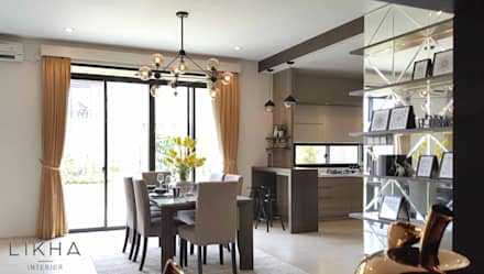 Dining Area & Kitchen:  Ruang Makan by Likha Interior
