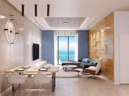 Квартира в ЖК «Актер Гэлакси» 115 м/кв: Гостиная в . Автор – metrixdesign