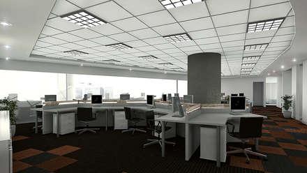 Pool de Trabajo - Vista 3D: Oficinas y Tiendas de estilo  por Soluciones Técnicas y de Arquitectura