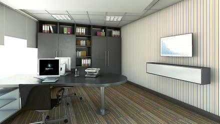 Presidencia - Vista 3D: Oficinas y Tiendas de estilo  por Soluciones Técnicas y de Arquitectura