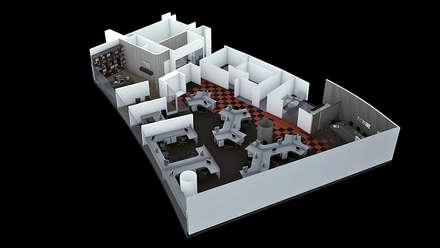Vista Aérea - Vista 3D: Oficinas y Tiendas de estilo  por Soluciones Técnicas y de Arquitectura