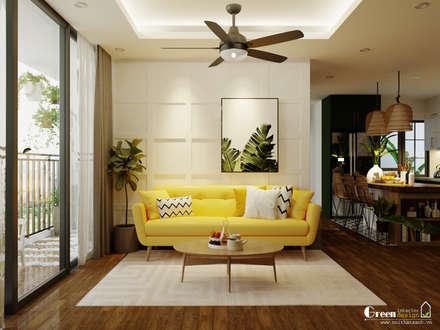"""SEASON AVENUE, ĐẠI LỘ 4 MÙA - """"MÙA HẠ MIỀN NHIỆT ĐỚI"""":  Phòng khách by Green Interior"""