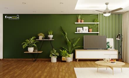 tropical Living room by Green Interior
