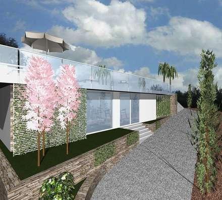 Piscina _ SPA _ Palestra _ Giardino _ Taormina: Giardino con piscina in stile  di Arch. Giuseppe Barone _ Studio di Architettura & Tutela del Paesaggio