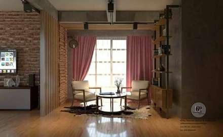 renovate ห้อง พื้นที่ 55 ตร.ม. style modern loft:  ห้องนั่งเล่น by sixty interior design & renovation