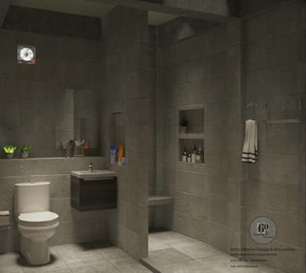 ห้องนํ้า:  ห้องน้ำ by sixty interior design & renovation