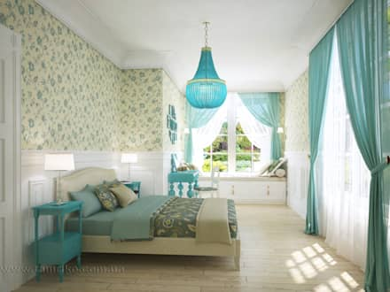 French country interior design: country Bedroom by Tamriko Interior Design Studio