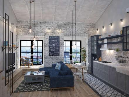 Loft Interior Design: industrial Living room by Tamriko Interior Design Studio
