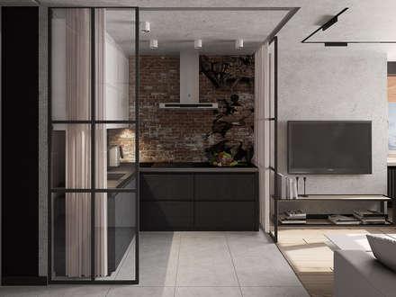 Квартира студия для молодых: Встроенные кухни в . Автор – EEDS design