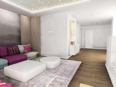 Vista general con detalle techo sala de audiovisuales: Salas multimedia de estilo moderno de CARMAN INTERIORISMO