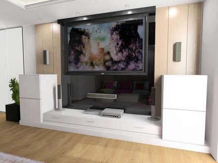 Diseño mueble sala de audiovisuales: Salas multimedia de estilo moderno de CARMAN INTERIORISMO