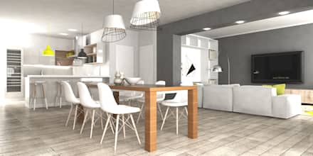 Progettazione interna abitazione stile scandinavo: Sala da pranzo in stile in stile Scandinavo di SAMANTHA PASTRELLO INTERIOR DESIGN