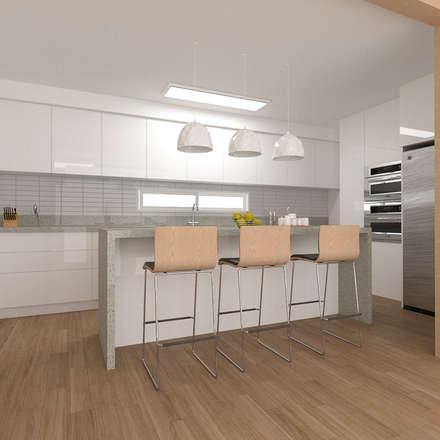리모델링주택 주방디자인: 디자인 이업의  주방 설비