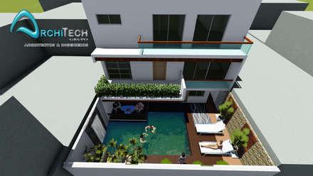 PROYECTO DE VIVIENDA UNIFAMILIAR CASA VERDE: Casas de estilo moderno por Architech Tacna Arquitectos e Ingenieros
