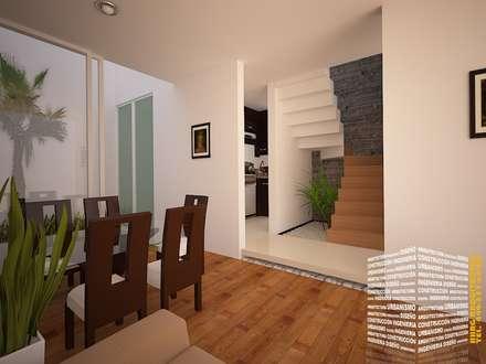 PASILLO DE ESCALERAS: Escaleras de estilo  por HHRG ARQUITECTOS
