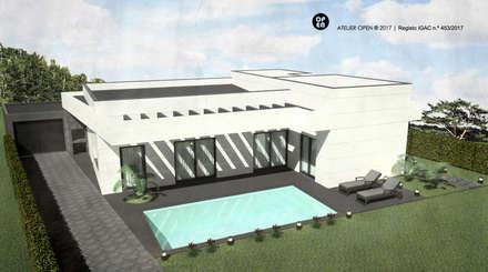 Moradia V3 |  Lt. 2 -  S. Domingos Rana | a.b. 200,00 m2 (construção LSF/aço leve) : Casas pré-fabricadas  por ATELIER OPEN ® - Arquitetura e Engenharia