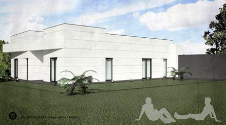 Moradia V3    Lt. 2 -  S. Domingos Rana   a.b. 200,00 m2 (construção LSF/aço leve) : Moradias  por ATELIER OPEN ® - Arquitetura e Engenharia