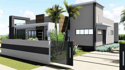Fachada: Casas unifamilares  por Trivisio Consultoria e Projetos em 3D