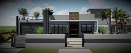 Remodelação da fachada: Casas unifamilares  por Trivisio Consultoria e Projetos em 3D
