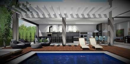 Espaço para curtir: Casas unifamilares  por Trivisio Consultoria e Projetos em 3D