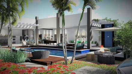 Area Gourmet: Jardins de fachada  por Trivisio Consultoria e Projetos em 3D