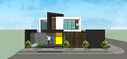 Fachada principal + Frente: Casas unifamiliares de estilo  por MARATEA Estudio