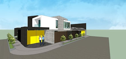 Fachada esquinera + Frente: Casas unifamiliares de estilo  por MARATEA Estudio