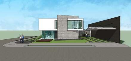 Fachada Lateral: Casas multifamiliares de estilo  por MARATEA Estudio