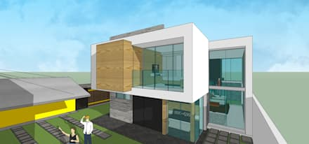 Fachada posterior: Casas unifamiliares de estilo  por MARATEA Estudio
