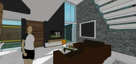 Sala. Vista de ventanal a doble altura: Salas / recibidores de estilo minimalista por MARATEA Estudio