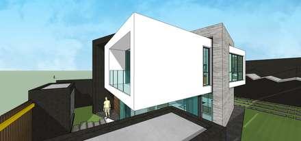 Fachada. Vista desde la esquina: Casas unifamiliares de estilo  por MARATEA Estudio