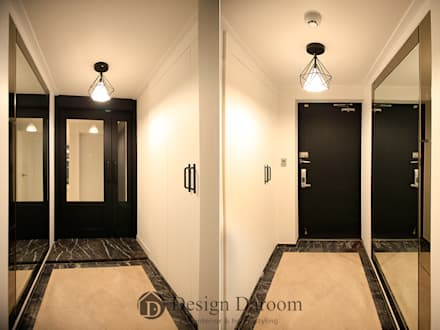 수유 두산위브 아파트 34py 현관: Design Daroom 디자인다룸의  복도 & 현관