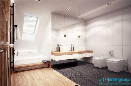 Projekt łazienki w domu jednorodzinnym w Rudzie Śląskiej: styl , w kategorii Łazienka zaprojektowany przez Archi group Adam Kuropatwa