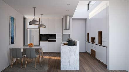 Cozinha-Projecto: Cozinhas modernas por EsboçoSigma, Lda