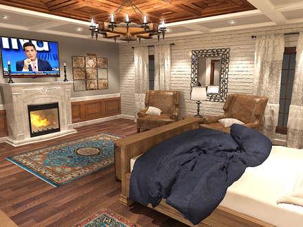 جناح نوم في بيت ريفي بالولايات المتحدة الامريكية :  غرفة نوم تنفيذ Quattro designs